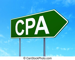 Business concept: CPA on road sign background