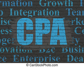 Business concept: CPA on wall background - Business concept:...