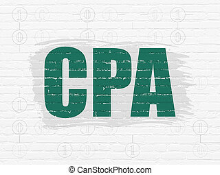 Business concept: CPA on wall background