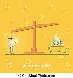 Business concept creative ideas more money