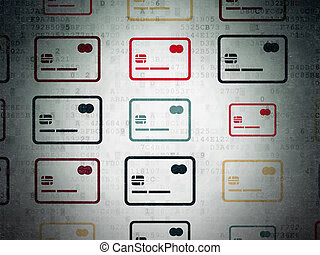 Business concept: Credit Card icons on Digital Paper background
