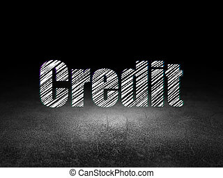 Business concept: Credit in grunge dark room