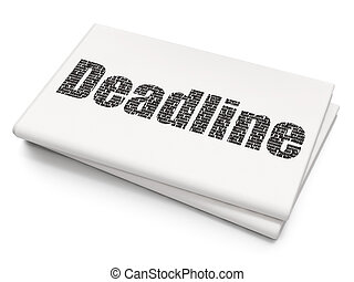 Business concept: Deadline on Blank Newspaper background