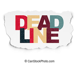 Business concept: Deadline on Torn Paper background