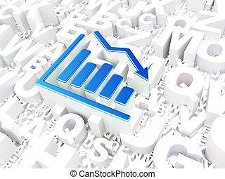 Business concept: Decline Graph on alphabet background, 3d...