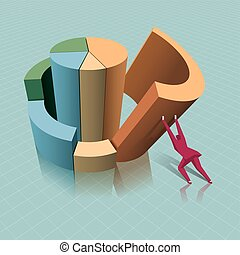 Business concept design, a businessman lift slanted chart. The background is blue.
