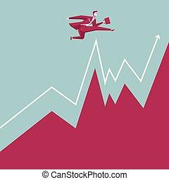 Business concept design. Businessman bouncing. Cross the chart.