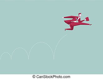 Business concept design. Businessman bouncing. Isolated on blue background.