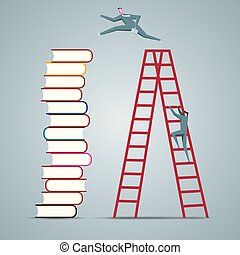 Business concept design, businessman is crossing to the book from the ladder.