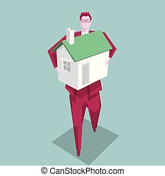 Business concept design concept, businessman holding house. The background is blue.