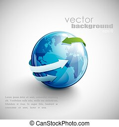 business concept design with blue globe and arrows