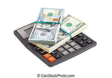 Business concept. Dollar banknotes with calculator on a white background