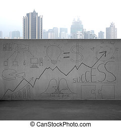 Business concept doodles on concrete wall with city view