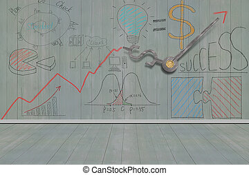 Business concept doodles on wooden wall