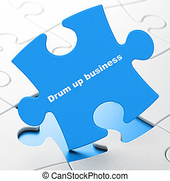 Business concept: Drum up business on puzzle background