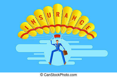 Business concept. Elegant Character. Businessman people jumping on parachute of insurance.