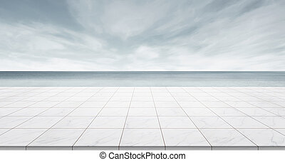 Business concept - Empty marble floor top with panoramic sky view under sunrise and morning grey bright sky for display or montage product