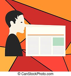 Business concept Empty template copy space isolated Posters coupons promotional material Man with a Very Long Nose like Pinocchio a Blank Newspaper is attached