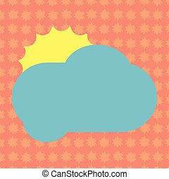 Business concept Empty template copy space isolated Posters coupons promotional material Sun Hiding Shining Behind Blank Fluffy Color Cloud Vector for Poster Ads