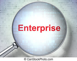 Business concept: Enterprise with optical glass