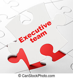 Business concept: Executive Team on puzzle background