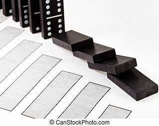 domino and falling economy diagram - business concept -...