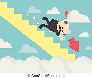 Business concept Falling chart on the blue background. Elements are layered separately in vector file. Stock market is falling