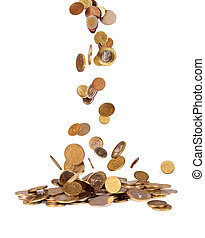 Business concept. Falling coins