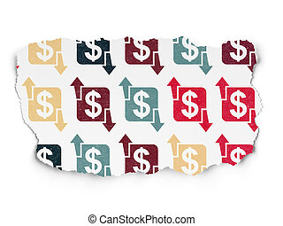 Business concept: Finance icons on Torn Paper background