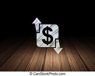 Business concept: Finance in grunge dark room