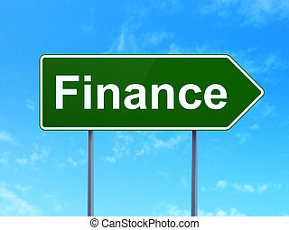 Business concept: Finance on road sign background
