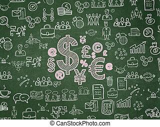Business concept: Finance Symbol on School Board background