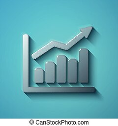 Business concept: flat metallic Growth Graph icon, vector