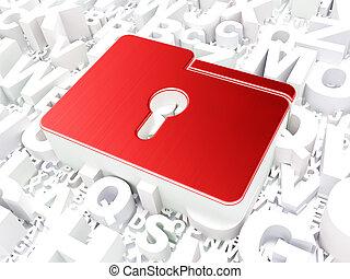 Business concept: Folder With Keyhole on alphabet background