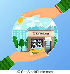 Business concept for opening the institution of coffe house. A woman is holding glass ball