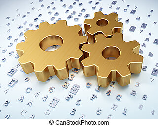 Business concept: Golden Gears on digital background