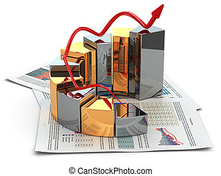 business, concept., graphique, et, business, plan., 3d