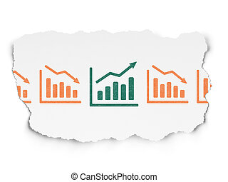 Business concept: growth graph icon on Torn Paper background