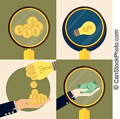 Business concept. Hand and Light bulb with money coins. Vector illustration.