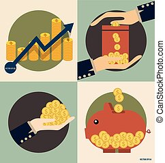Business concept. Hand and Piggy bank with money coins. Vector illustration.