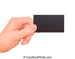 business concept: hand holding a business card