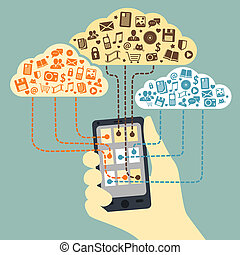 Business concept. Hand holding smartphone connected to cloud services with application media and social communications vector illustration