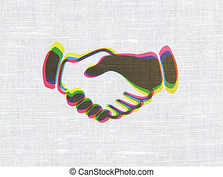 Business concept: Handshake on fabric texture background