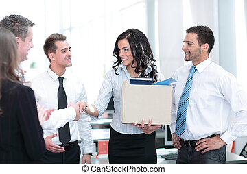 Business concept - happy  business woman in office.