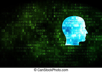 Business concept: Head on digital background