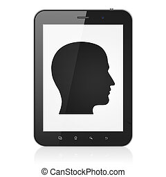Business concept: Head on tablet pc computer