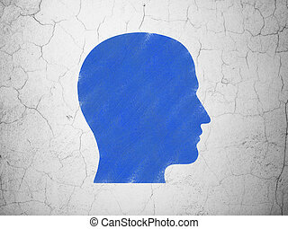 Business concept: Head on wall background