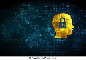 Business concept: Head Whis Padlock on digital background -...