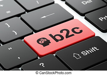 Business concept: Head With Gears and B2c on computer ...