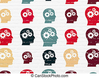 Business concept: Head With Gears icons on wall background